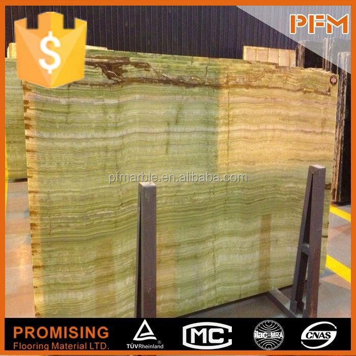 2015 wholesale well polished natural straight cutting iran green onyx marble tile