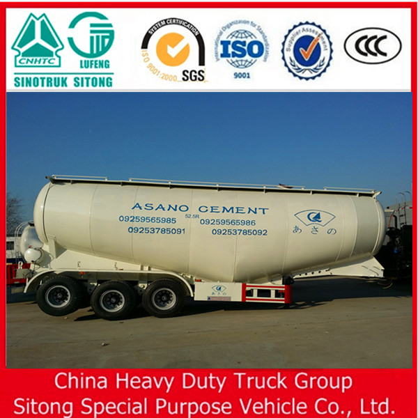 China heavy duty truck car 56 CBM bulk cement tank semi trailer for sale