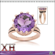 Rose Gold Over Sterling Silver Simulated Amethyst Crown Design Ring