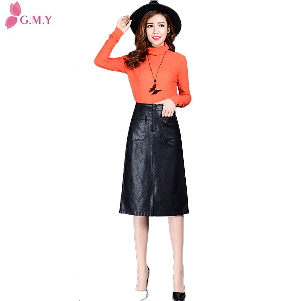women high-waisted black PU formal midi pencil skirts pattern with two big front pockets