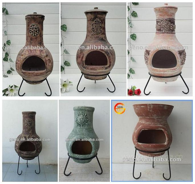 wholesale antique finish outdoor clay chiminea with metal-stand