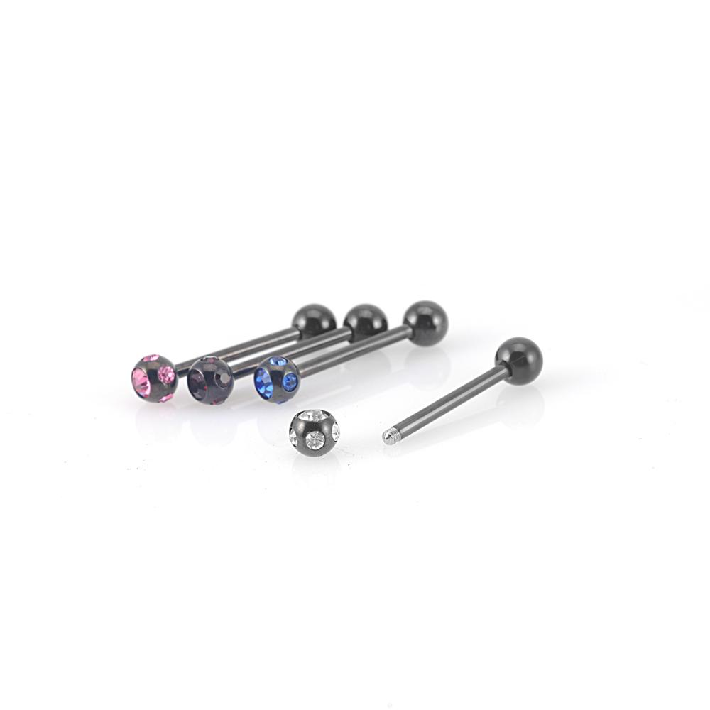 Popular body piercing jewelry stainless steel tongue bar rings with six gems jeweled