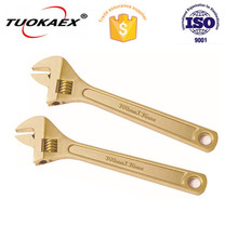 "TUOKAEX Safety Tools TK125 Wrench with Adjustable End, Non-Sparking, Non-Magnetic, Corrosion Resistant, 12"" spanner"