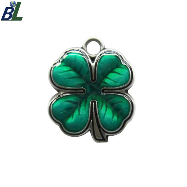 Custom Enamel Lucky Four-Leaf Clover Charm Pendant