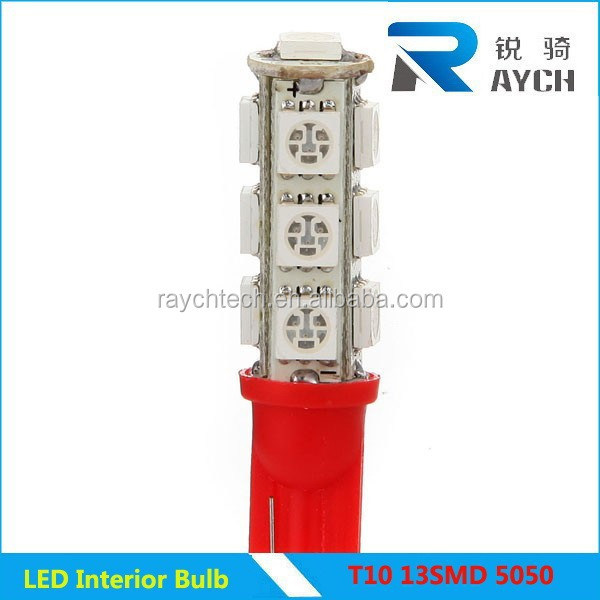 Fashionable T10 13smd 5050 12V White red blue yellow purple green LED auto turn light direction signal light lamp bulb