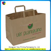 Environmental kraft shopping paper bag with your own logo /customized shopping paper bag round paper handle