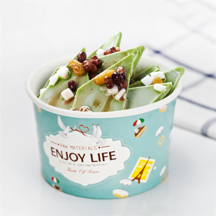 Custom printed cold food paper bowl for gelato