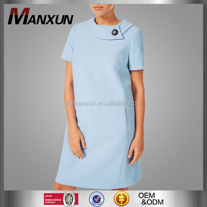 Summer elegance pale blue women formal office dress for ladies