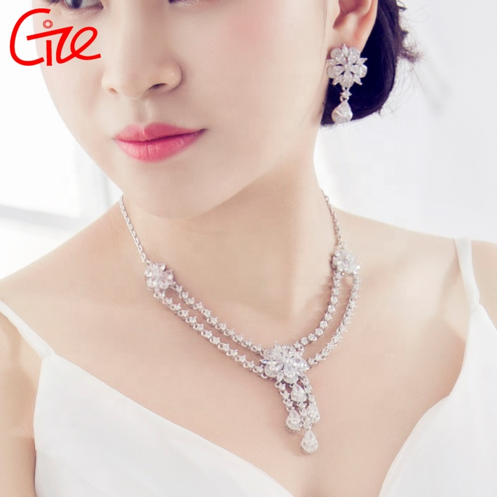 hot sale African fashion gold plated cubic zircons wedding luxurious bridal women jewelry sets