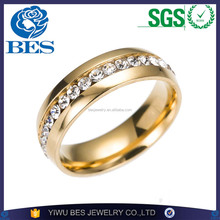 High Polished Shiny Jewelry Gold Stainless Steel Wedding Diamond Interchangeable Ring