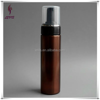 Empty cylinder pet plastic amber and black foaming pump bottles 200ml soap bottle
