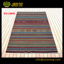 China carpet factory wholesale top quality stripe design handmade woolen kilim rug