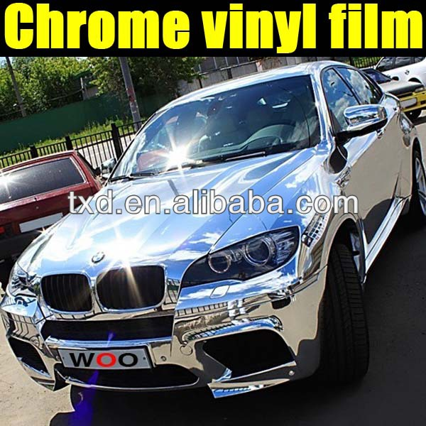 Silver Chrome car color change film with air channels