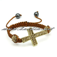 2-row mini cross jewely adult shamballa bracelet