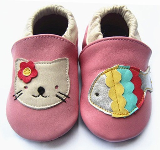 Lowest price soft sole leather baby shoes girl animal print shoes