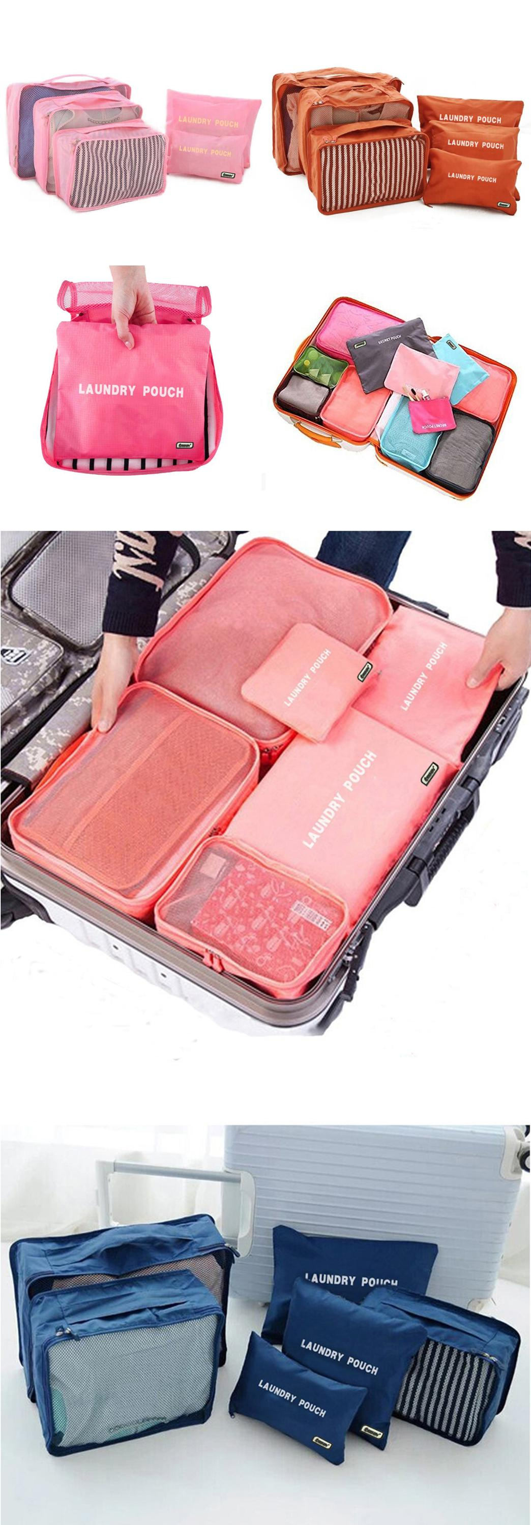 7 Set Compression Travel Luggage Organizer Packing Cubes with Shoe Bag