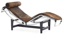 leisure cowhide classic chair with metal base