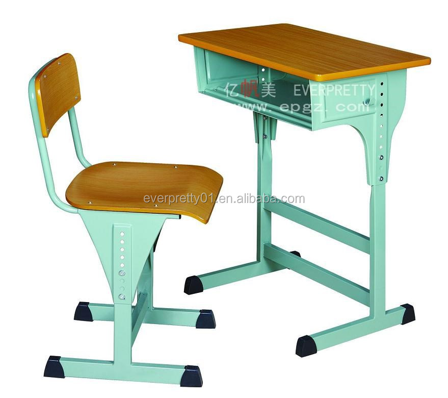 2015 High Quality Single Wooden Study Adjustable School Student Desk & Chair for Classroom