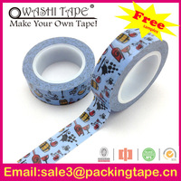 packing tape priinted company logo,colorful rice paper tape with free samples offer