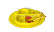 Yellow duck shape Baby silicone food placement