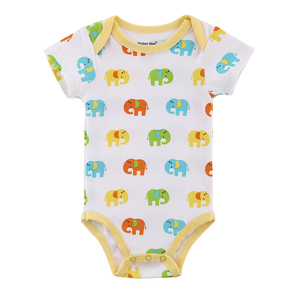 Wholesale Printed Elephant Pattern 100% Cotton Unisex Baby Summer Clothes Clothing