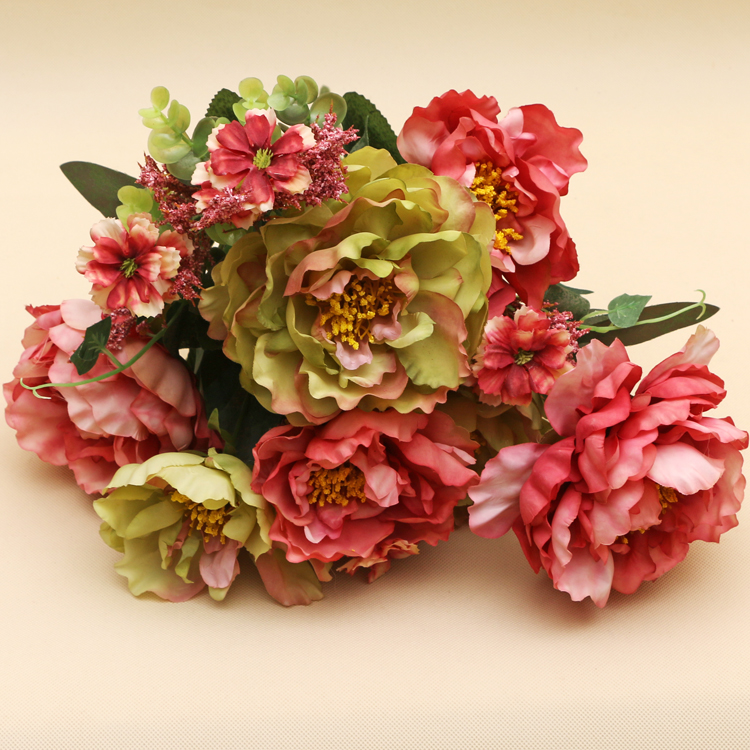 Factory direct decorative plants home decorations DIY table centerpieces wedding decoration artificial peony bouquet