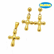 Christian jewelry hot sale cross pendant jesus gold religious jewelry set
