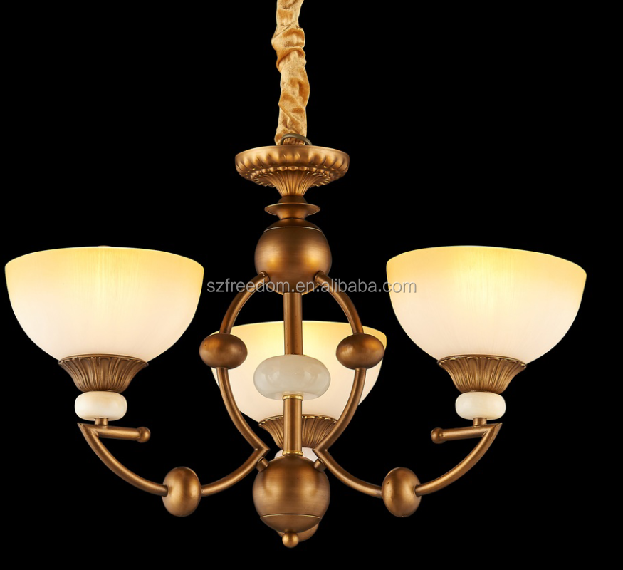2016 New designs hanging antique decorative pendant light iron with glass shade chandelier lamps