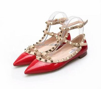 Pointed Toe Lamb Leather Ballet Flats Watercolor Flat Shoes Nice Plating Rivets 5mm heel