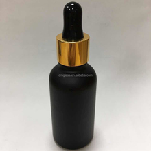 glass material screen pringting surface handling essential oil use black glass dropper bottles wholesale with dropper