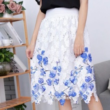 Mature skirt latest fashion design high quality colorful flowers pattern fashionable long skirt for women clothing
