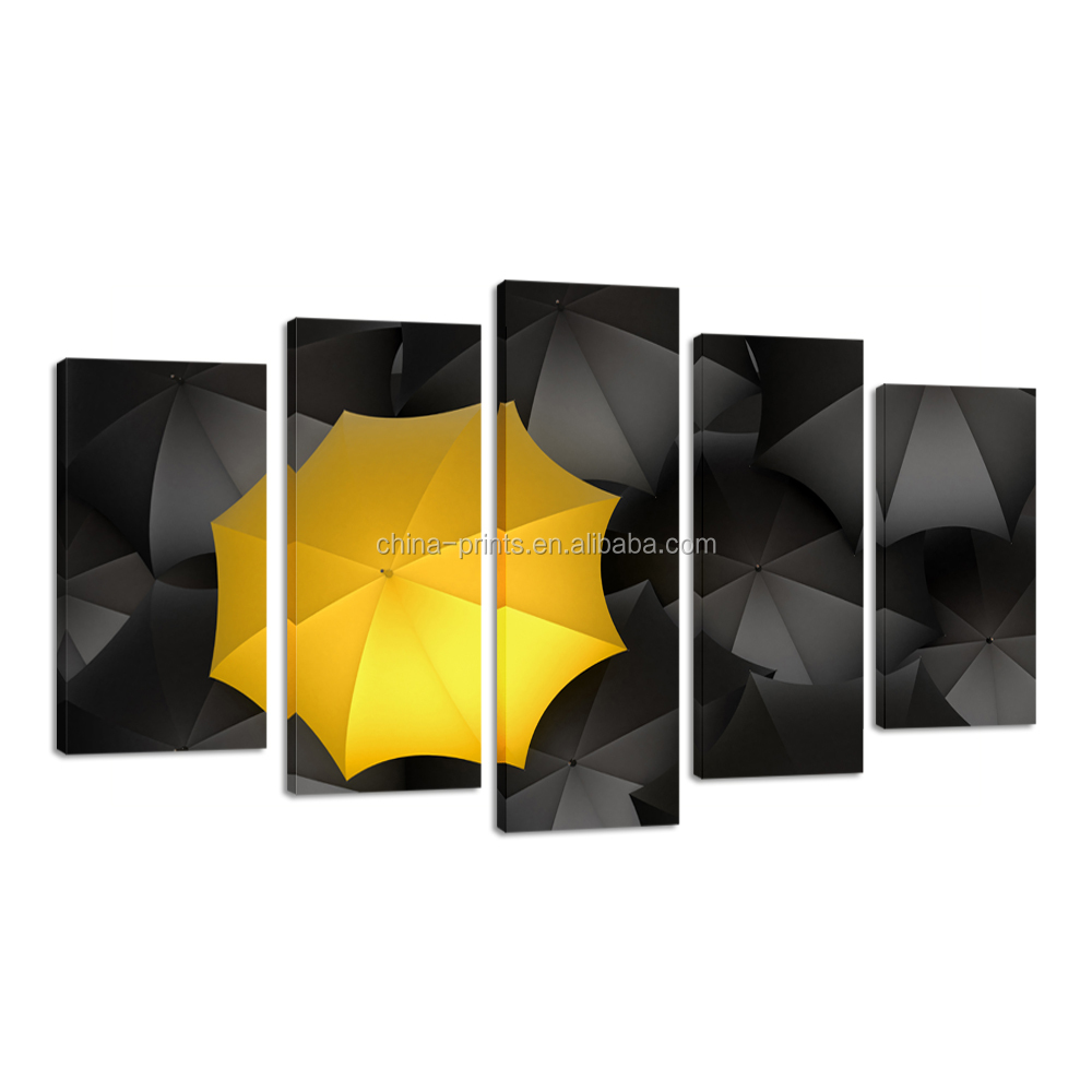 Framed Canvas Wall Art Contemporary Art Black Yellow Umbrella Canvas ...