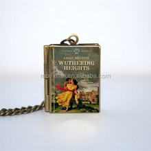 Wuthering Heights Book cover Locket Necklace vintage mini book necklace bronze tone