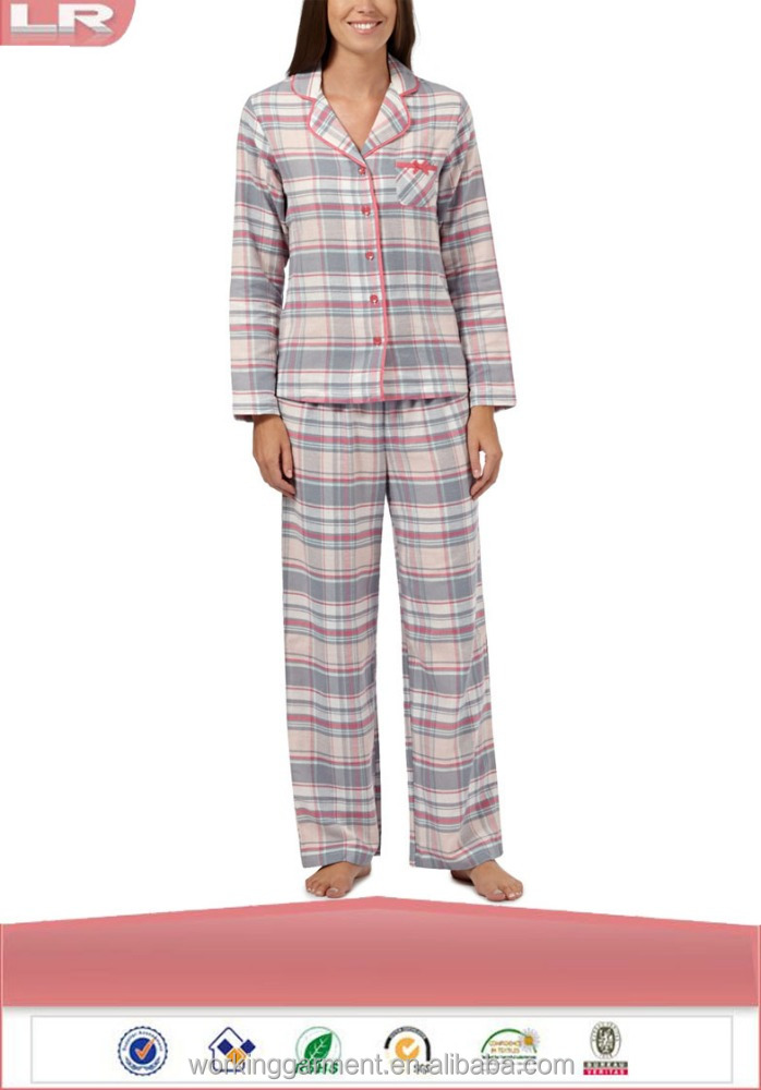 Fashion Lounge and Sleep Pale Pink Checked Flannel Pajamas/100% Cotton Sleepwear/Ladies Lounge Wear