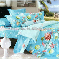 Queen Size Bed sheets/Custom Bed Spread/Ocean Polyester Bedding Sets