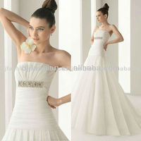 2012 Most Popular Satin Strapless Floor-length designer wedding dresses