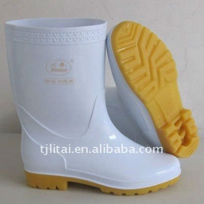 Light duty white pvc rain boots for women water proof 100% oil resistance work boots cheap price