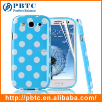 Set Screen Protector And Case , Dot Pattern Hard Gel TPU Back Case Cover For Samsung Galaxy S3 I9300