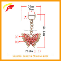 fashion red butterfly shaped zinc alloy pendant for belt bag and garment