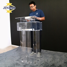 JINBAO Factory Modern Custom Perspex Acrylic Clear Pulpit Lectern Church Podium