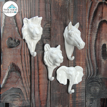 Ceramic home decoration porcelain hook creative product animal head wall for sale
