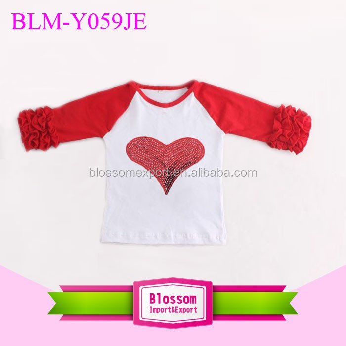 New Monogram Blanks Children's IcingRaglan Baseball Tee Shirts Baby Girls Toddler kids Houndstooth Triple Ruffle Raglans T shirt