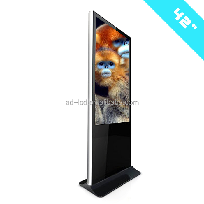 42 inch indoor advertising led tv display floor stand lcd touch screen advertising display