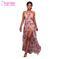 Fanika V Neck Nude Ladies Embroidered Romper Long Maxi Dress L51423
