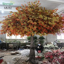 SJZJN 825 Artificial Autumn Tree Red Maple Leaves Fiberglass Trunk Tree for Garden & Festival Event Decoration