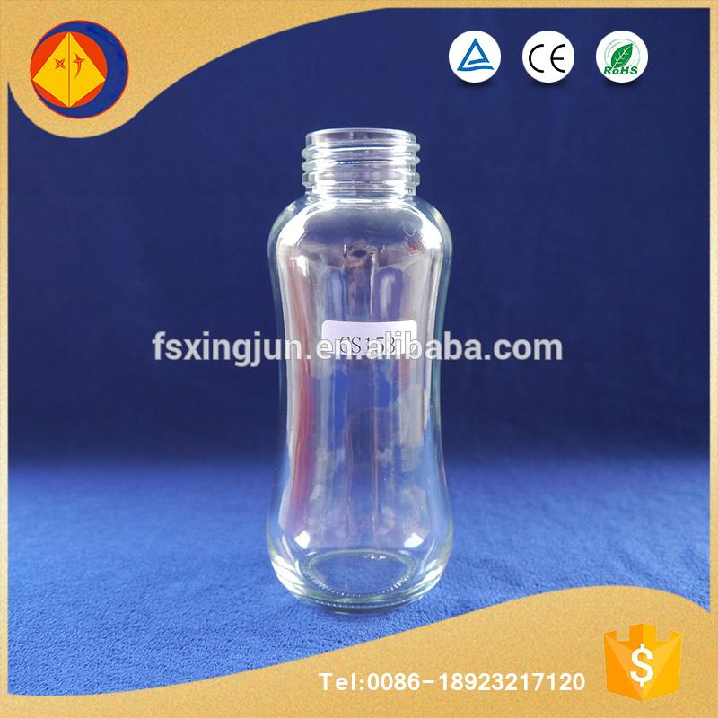 Brand new pellucid food storage fancy shape glass milk bottles for sale