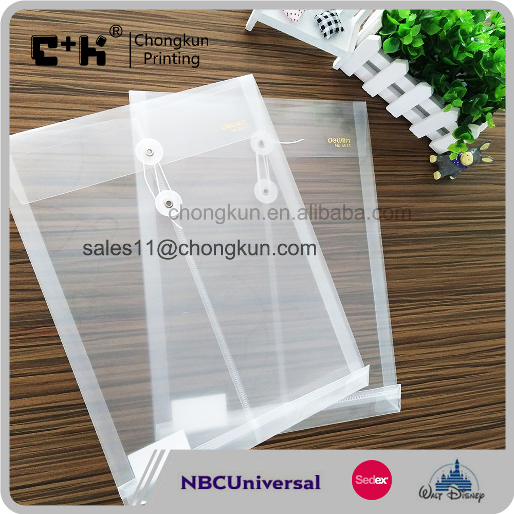 Waterproof Document Bag Plastic A4 File Folder with Strings Fastener