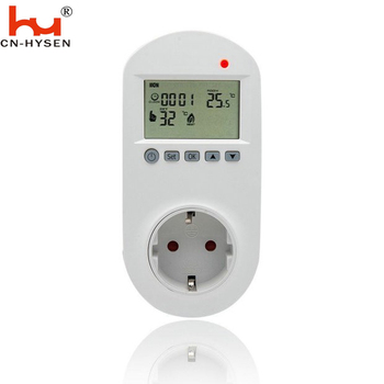 Hysen Multi-function Big  LCD Display Thermostat Timer Switch Socket With Temperature Probe