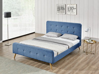 1161 Simple Bedroom Furniture Double/King Size Chenile/Velvet Fabric Bed