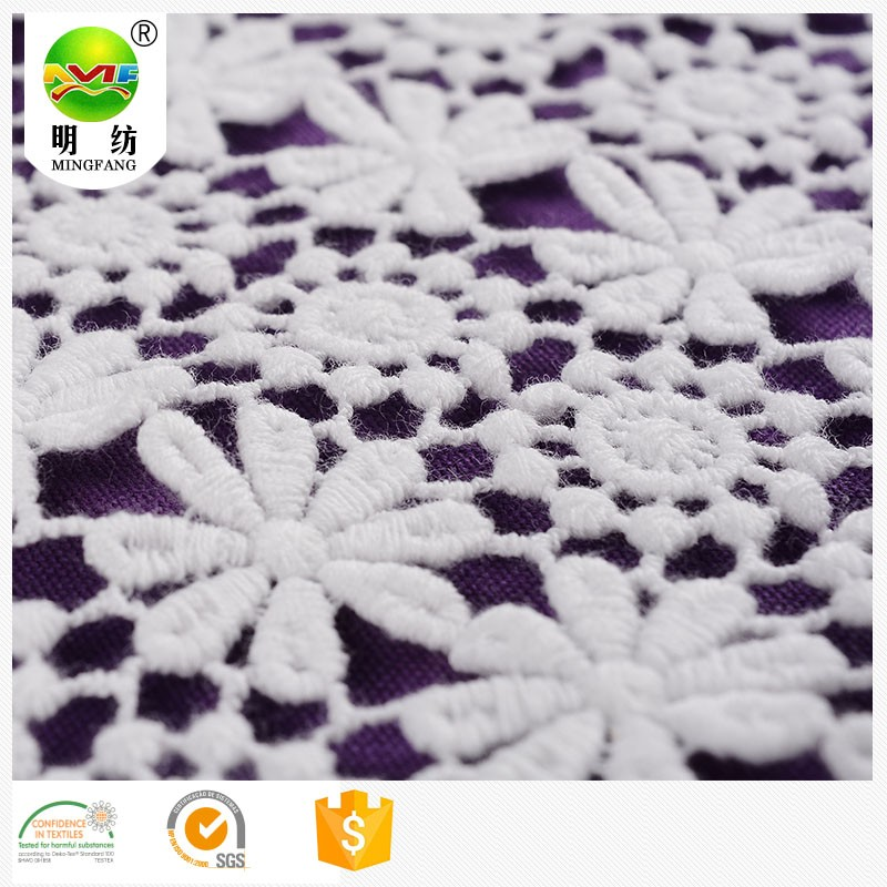 2016 organic 100 cotton lace embroidered fabric for clothing